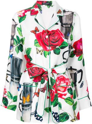 Dolce & Gabbana coffee pot print belted shirt