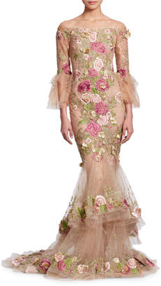 Marchesa Off-the-Shoulder Bell-Sleeve Tulle Evening Gown with 3-D Floral Appliques