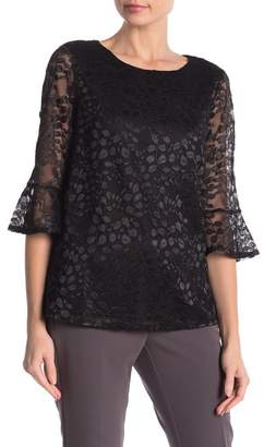 Adrianna Papell Floral Lace Bell Sleeve Top