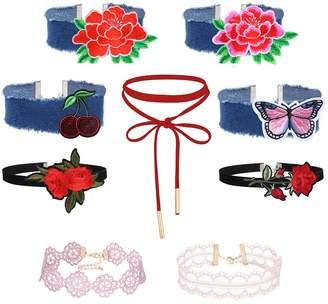 MingJun 19PCS Vintage Velvet Denim Embroidery Red Flower Lace Choker Set Elegant Fashion Lace-up Necklace for Women Girl and Teens