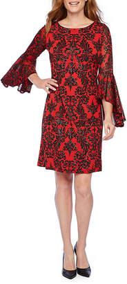 Ronni Nicole Long Bell Sleeve Glitter Dot Scroll Shift Dress