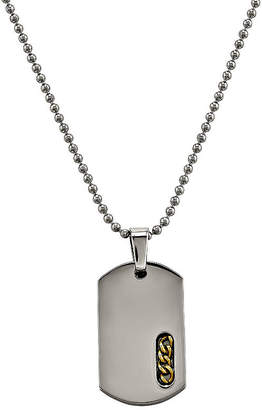 FINE JEWELRY Mens Titanium Yellow Ip-Plated Dog Tag Pendant