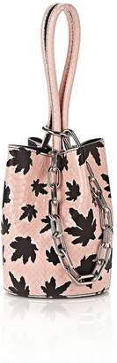 Alexander Wang Runway Roxy Mini Bucket In Pink Elaphe With Leaf Print