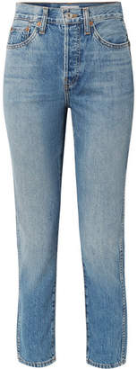 RE/DONE Originals Double Needle Crop High-rise Tapered Jeans - Mid denim