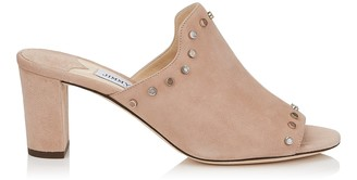 Jimmy Choo MYLA 65 Ballet Pink Suede Mules with Stone Effect Studs