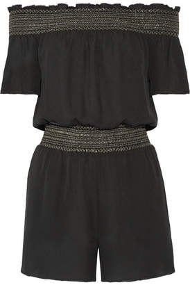 Rachel Zoe Lisa Off-the-shoulder Shirred Silk Crepe De Chine Playsuit - Black