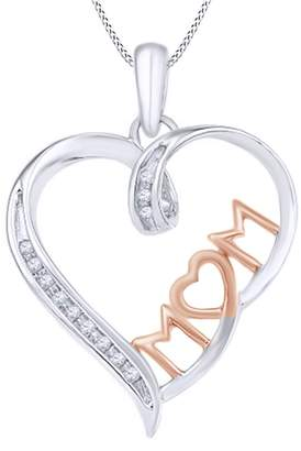 AFFY 1/20 Ct Round Natural Diamond Mom Heart Pendant Necklace in 14k Gold Over Sterling Silver