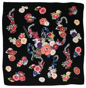 Saint Laurent Floral Print Silk Scarf