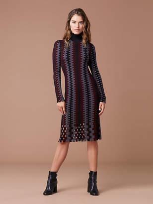 Diane von Furstenberg Turtleneck Knit Wool Midi Dress