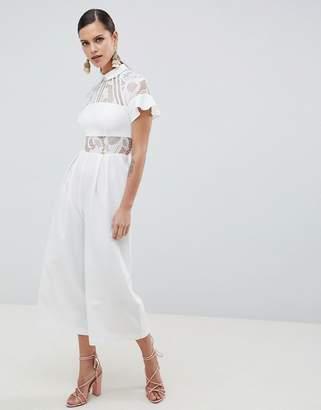 45e50436bd01e9 Asos Design DESIGN Lace Top Jumpsuit With Culotte Leg
