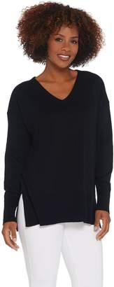 Halston H By H by V-Neck Hi-Low Hem Pullover Boyfriend Sweater