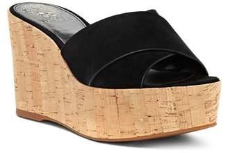 Vince Camuto Women's Kessina Leather & Cork Platform Wedge Slide Sandals