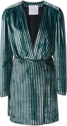Markarian M'O Exclusive Prince Striped Velvet Wrap Dress