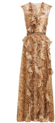 Diane von Furstenberg Lacey Python Printed Silk Chiffon Wrap Dress - Womens - Brown Print