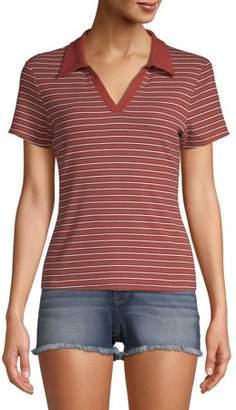 No Boundaries Juniors' Rib Knit Striped Contrast Collared Polo Shirt