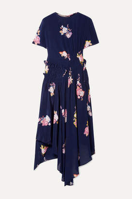 Preen Line Verna Asymmetric Ruched Floral-print Crepe De Chine Dress - Navy