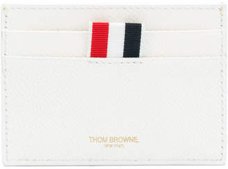 Thom Browne Single Card Holder With Tennis Ball Intarsia In Pebble Grain & Calf Leather