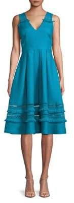 Badgley Mischka Belle Fray-Trimmed Fit-and-Flare Dress