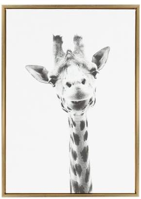 Bronx Ivy 'Giraffe Animal Print Portrait' Framed Photographic Print on Wrapped Canvas Format: Gold Framed