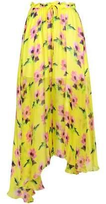 MSGM Floral-print Silk-chiffon Midi Skirt