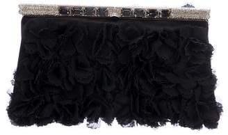 Valentino Satin Floral-Embellished Evening Bag