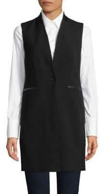 Calvin Klein Faux-Leather Trim Longline Vest