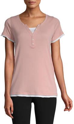 ST. JOHN'S BAY SJB ACTIVE Active-Womens Y Neck Short Sleeve T-Shirt