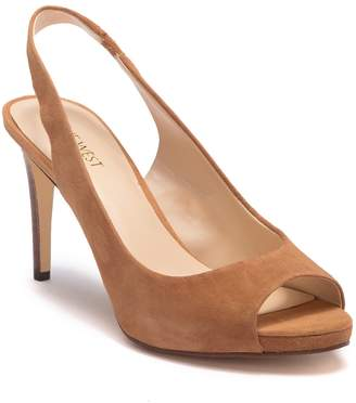 Nine West Known As Suede Slingback Peep Toe Stiletto Heel