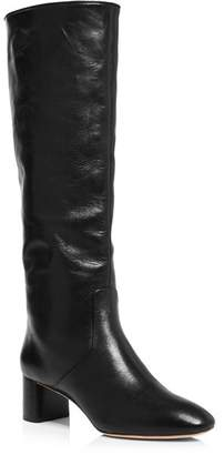 Loeffler Randall Women's Gia Pointed-Toe Knee-High Leather Mid-Heel Boots