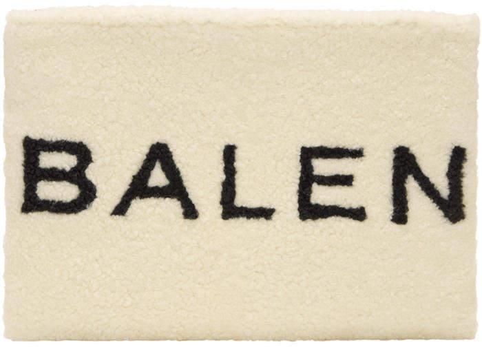 Balenciaga White and Black Shearling Logo Pouch