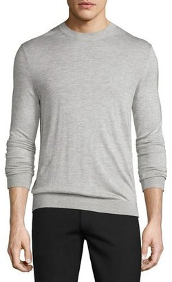 Theory Riland Silk-Cashmere Crewneck Sweater, Foam Heather $265 thestylecure.com