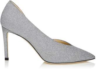 Jimmy Choo SOPHIA 85 Silver Fine Glitter Leather Pointy Toe Pumps