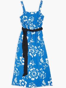 Bellerose Blue And White Vlan Print Sun Dress - 10 - Blue/White/Black