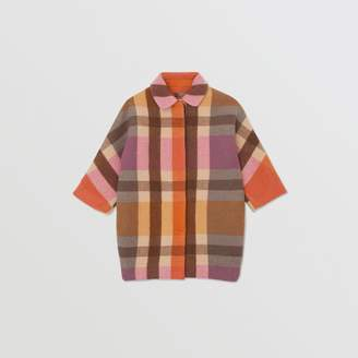Burberry Childrens Check Wool Cashmere Blend Coat