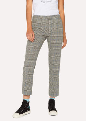 Paul Smith Women's Slim-Fit Black And White Check Cotton Pants