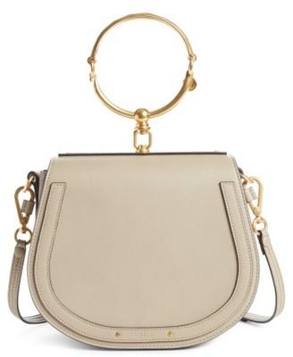 Chloe Medium Nile Leather Bracelet Saddle Bag - Grey $1,690 thestylecure.com