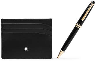 Montblanc Meisterstück Resin and Gold-Plated Ballpoint Pen and Leather Cardholder Gift Set