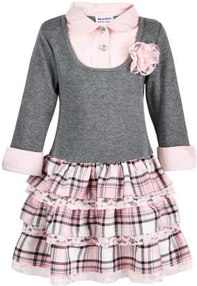 Blueberi Boulevard Little Girls Layered-Look Plaid Sweater Dress