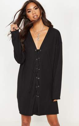 PrettyLittleThing Black Lace Up Front Oversized Rib Jumper Dress