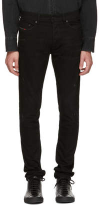 Diesel Black Minor Distressing Tepphar Carrot Jeans