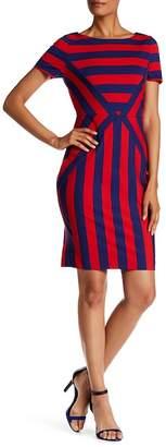 NUE by Shani Striped Short Sleeve Dress