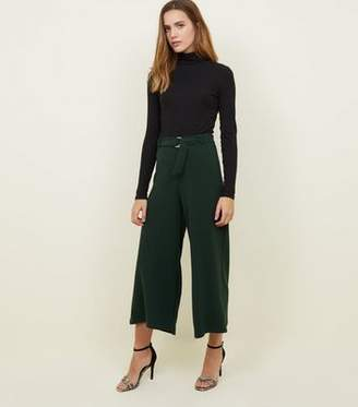 New Look Dark Green D-Ring Belt Cropped Trousers