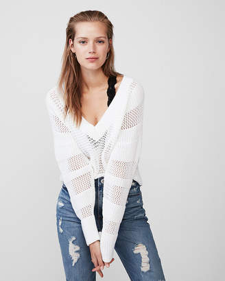 Express Oversized Mix Stitch V-Neck Sweater