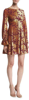 Amanda Uprichard Valeria Velvet Burnout Long-Sleeve Short Dress