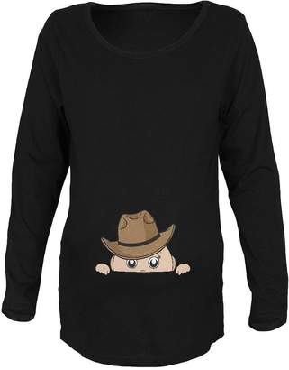 Old Glory Peeking Baby Cowboy Maternity Soft Long Sleeve T-Shirt