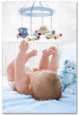 The Macneil Studio 'Baby in Cot' Canvas Art, 30x47""