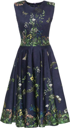 Lena Hoschek Pleated Floral-Print Cotton Blend-Satin Dress
