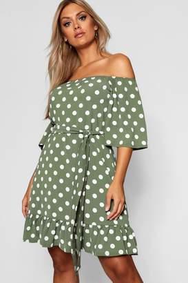 boohoo Plus Woven Off Shoulder Polka Dot Mini Dress