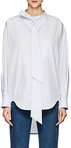 Balenciaga Women's Logo Cotton Poplin Blouse - 4901-Ltgry