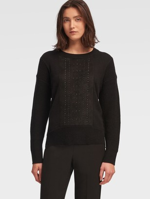 DKNY Crewneck Pullover With Stud Panel